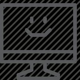 computer, desktop, device, display, imac, monitor, screen, smiley icon