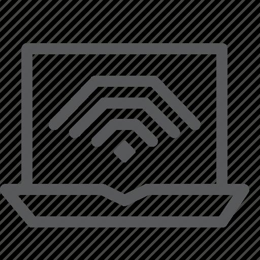 apple, computer, laptop, line, macbook, notebook, portable, wifi icon