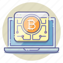 bitcoin, blockchain, crypto, cryptocurrency, digital, network, processing icon