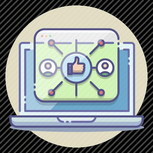 affiliate, branding, community, marketing, network, social media, strategy icon