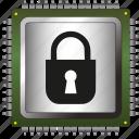 antivirus, chip, data, information, padlock, processor, security