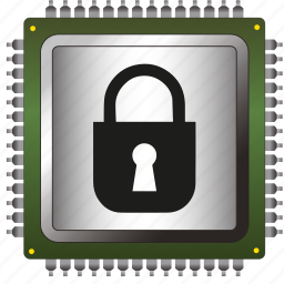 antivirus, chip, data, information, padlock, processor, security icon