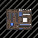 baseboard, board, computer, device, logic board, motherboard, planar board icon