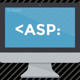 asp, coding, computer, display, imac, monitor, programming icon