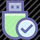 .svg, add, check, data saver flash, data stick, flash, flash drive, usb icon