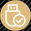 .svg, check, data saver flash, data stick, flash, flash drive, usb icon
