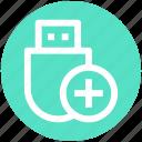 .svg, add, data saver flash, data stick, flash, flash drive, usb icon