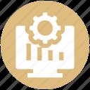 .svg, cogwheel, gear, graph presentation, lcd, monitor, presentation icon