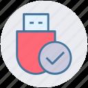 check, data saver flash, data stick, flash, flash drive, usb icon