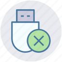 data saver flash, data stick, delete, flash, flash drive, usb icon