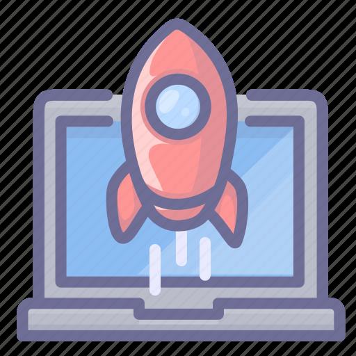 computer, rocket, speed icon