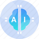 artificial, brain, concept, digital, intelligence, science, technology icon
