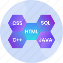 code, coding, html, language, program, programming, technology icon