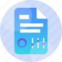 data, document, file, gear, paper, settings, sign icon