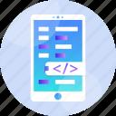 app, application, code, development, mobile, phone, programming icon
