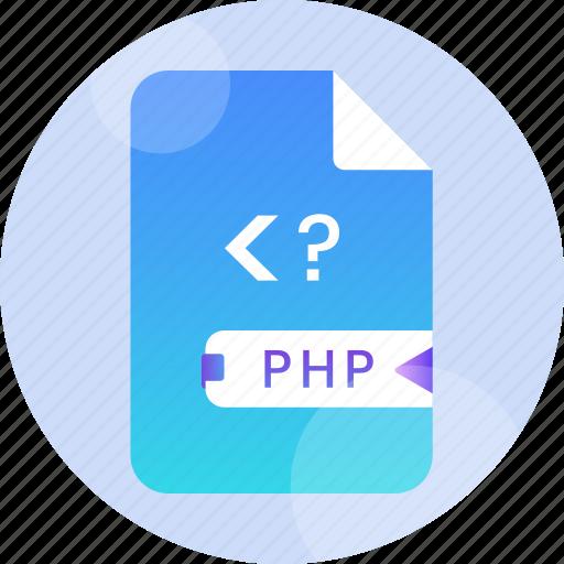 code, document, file, internet, php, script, web icon
