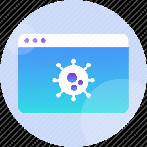 computer, hack, infected, malware, threat, trojan, virus icon
