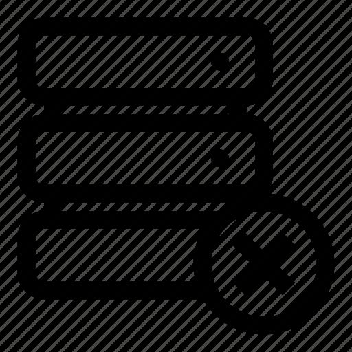 cross, database, database-delete, database-error, database-remove, remove, sql-error icon