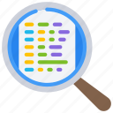 code, computer, examine, science, search icon