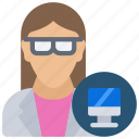 avatar, computer, female, science, scientist icon
