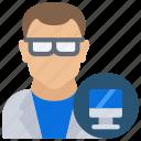avatar, computer, male, science, scientist icon