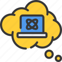computer, laptop, science, theory, thoughts icon
