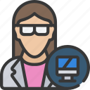 avatar, computer, female, science, scientist