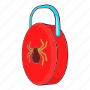cartoon, lock, protect, protection, secure, security, virus icon