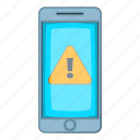 alert, cartoon, caution, mobile, notification, phone, warning icon