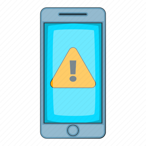 Alert, cartoon, caution, mobile, notification, phone, warning icon - Download on Iconfinder