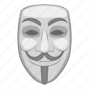 anonymous, cartoon, hacker, hacking, mask, white icon