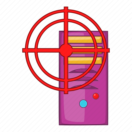 antivirus, cartoon, computer, system, target, technology, unit icon