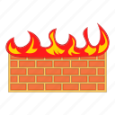 brick, cartoon, fire, firewall, network, red, wall icon