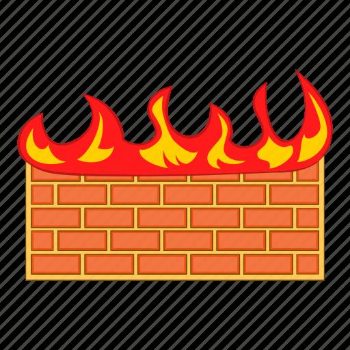brick, cartoon, fire, firewall, network, red, wall icon