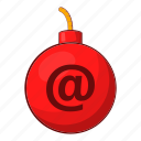bomb, cartoon, envelope, explosive, letter, mail icon