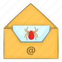 antivirus, background, cartoon, email, infected, long, white icon