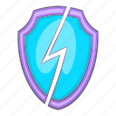 abstract, cartoon, lightning, power, safety, security, shield icon