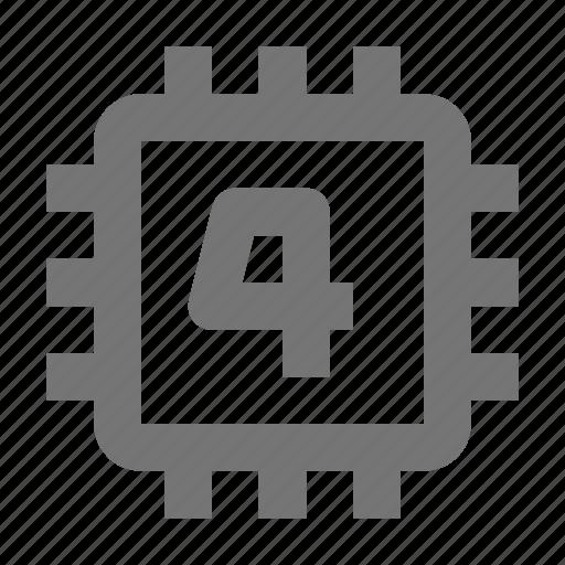 chip, computer, cpu, four, gpu, hardware, microchip, processor icon
