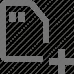 add, new, plus, sd card icon