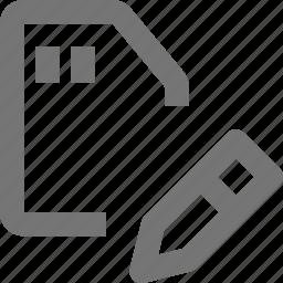 data, edit, hardware, memory, pen, pencil, save, sd card icon