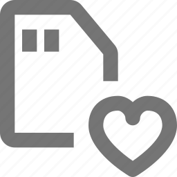 favorite, heart, like, sd card icon