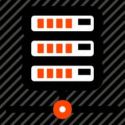 connection, data center, local, network, raid, server, storage icon