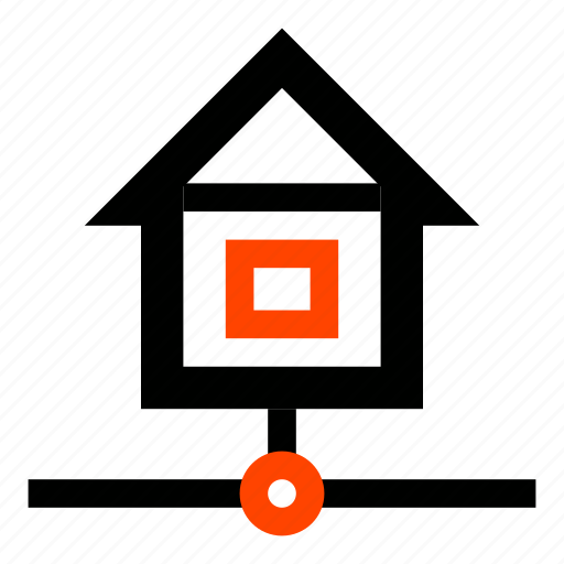 building, connection, home, house, internet, network, workgroup icon