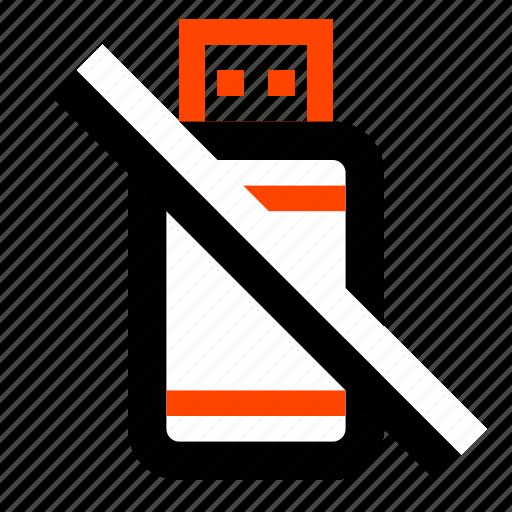 flash, memory, not allowed, remove, storage, usb, usb stick icon