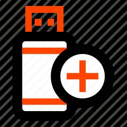 add, create, memory, more, new, storage, usb flash icon
