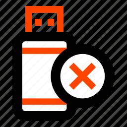 delete, flash, memory, remove, stick, storage, usb icon