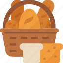 bakery, basketfood, bread, buns, foodwith, restaurantbaked, rolls icon