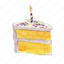 birthday, cake, dessert, slice, sprinkles, sweet, vanilla icon
