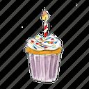 bake, birthday, cake, cupcake, dessert, sprinkles, sweet, vanilla icon
