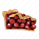 bake, cherry, dessert, pie, slice, sweet icon